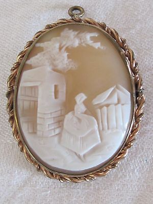 C12 Estate CARVED SHELL CAMEO Woman Brooch Pin Pendant Filigree Gold Tone