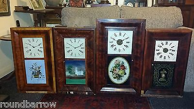 4X Job Lot American Ogee 30 Hour / 8 Day Wall Clocks For Restoration