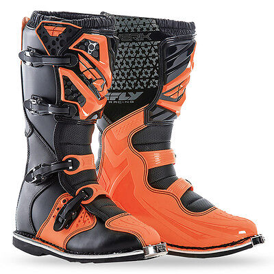 Fly Racing Maverik Boots 2017 Orange Black Adult Motocross MX Dirtbike SIZE 10