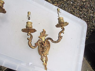 Vintage Rococo Gold Wall Light Architectural Antique Brass Gilt Baroque Old 2Arm