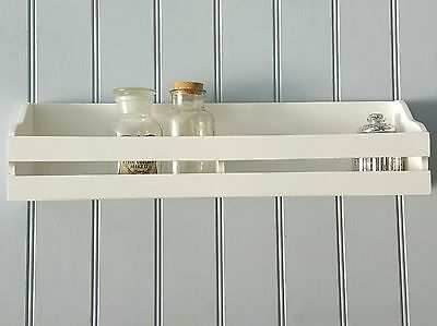 White Wall Shelf Shaker Style Wooden Bathroom Kitchen Storage Unit