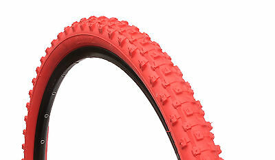 1 PAIR ( 2 TYRES ) MOUNTAIN BIKE MTB TYRES TIRES 26 x 2.10 ALL RED  M1101