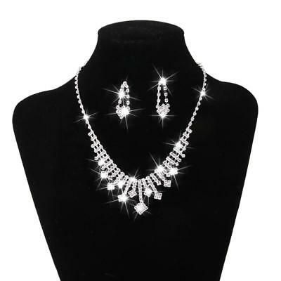 Diamante Bridal Jewelry Set Rhinestone Earrings Necklace Wedding Proms