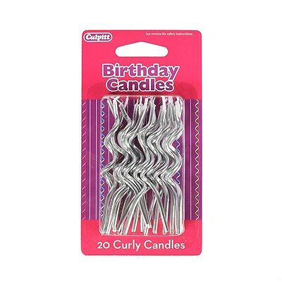 20 Silver Curly Candles