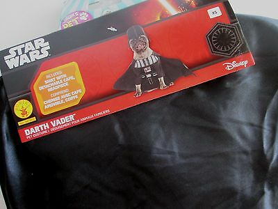 STAR WARS DOG Pet DARTH VADER Costume S New Shirt w/ Detach Cape & Headpiece