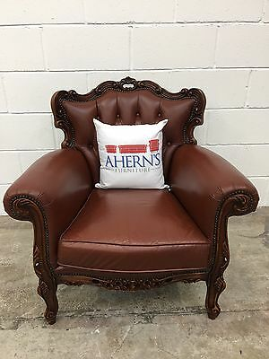 *SUPERIOR Vintage Brown leather Chesterfield French Louis Chair  L��������K*