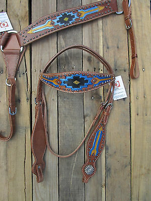Leather Western Headstall Breastcollar Turquoise Blue Black Show Horse Tack Set