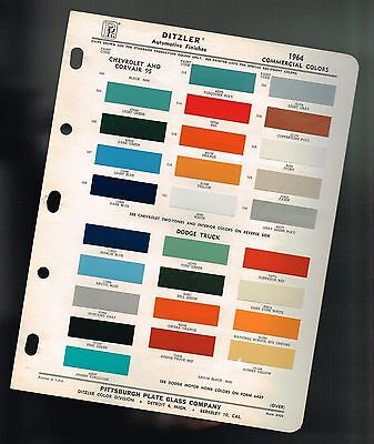 1964 Chevy / Dodge TRUCK Color Chip Paint Sample Brochure / Chart:PickUp,Corvair