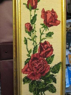 Margot Burgundy Pink Roses Finished Needlepoint Picture-6.5x18.25 Inches/16x46cm