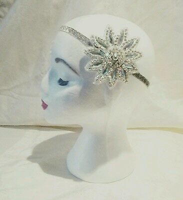 Great Gatsby Sparkly Silver Diamante & Crystal Elastic Party Head Band