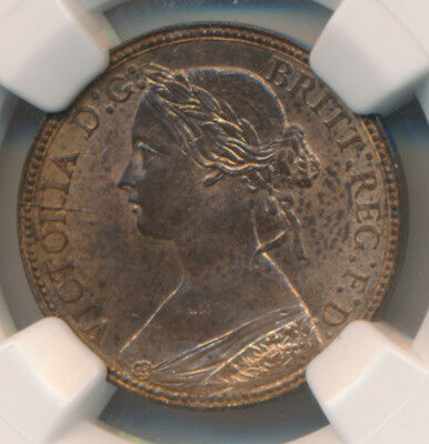 MAKE AN OFFER! -- Great Britain Farthing 1860 Beaded Borders - NGC MS 64 RB