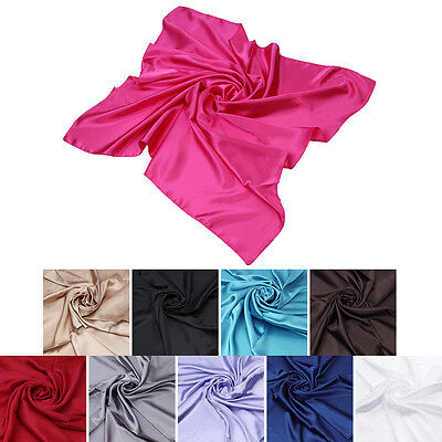"Elegant Large Silk Feel Solid Color Satin Square Scarf Wrap 35"" - Diff Colors"