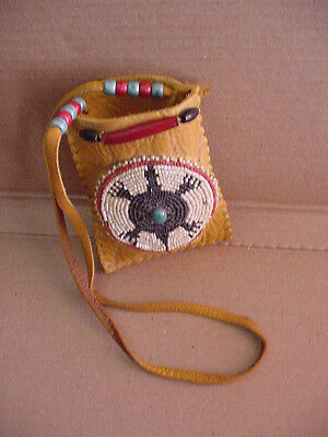 HAND BEADED TURTLE WESTERN AMERICANA ETHNIC ART WOMEN'S LEATHER POUCH by BXTN