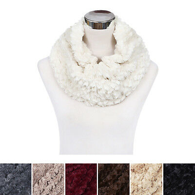 Soft Small Faux Fur Diamond Solid Color Warm Infinity Circle Scarf -Diff Colors