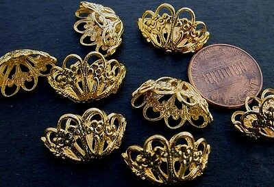 Vintage 12 x 19mm Gold Tone Metal Filigree Basket Charms Findings 8