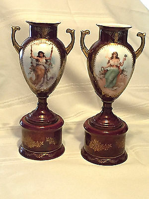 Vintage Royal Vienna Figural Urns, Gorgeous Pair
