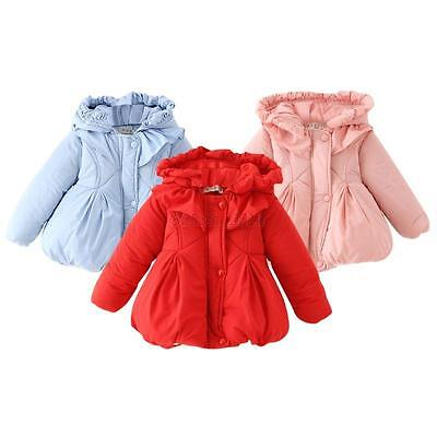 Baby Infant Girls Winter Casual Cotton Outerwear Hooded Warm Coat Jacket 0-24M
