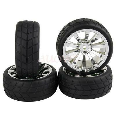 4pcs 1/10 Scale On Road Car RC Tires Tyre&Wheels 12mm Hex for WLtoys Tamiya HPI