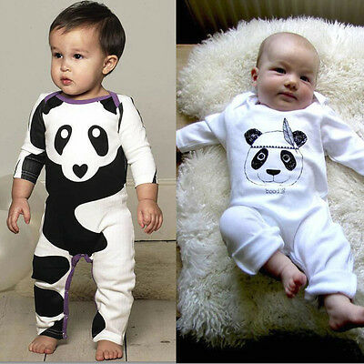 Newborn Infant Baby Boys Girls Panda Print Tops Romper Jumpsuit Outfits Clothes