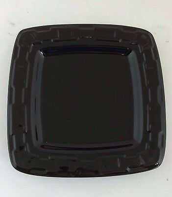 Longaberger Pottery Square Luncheon Plate Ebony Black