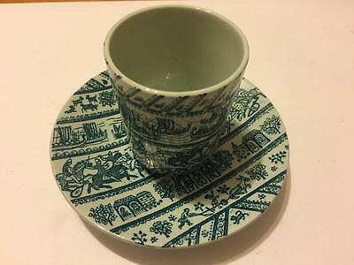 Nymolle Art Faience Hoyrup Limited Edition Denmark Green Danish Cup & Saucer