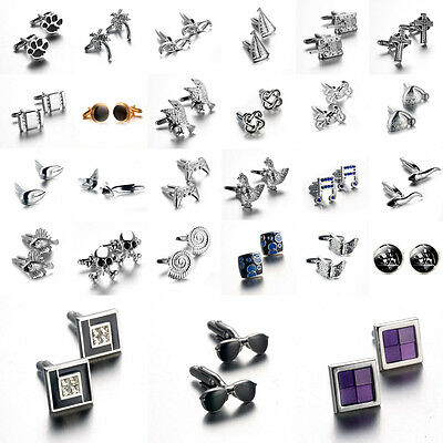 Lot Stainless Steel Silver Golden Plated Vintage Men's Wedding Gift Cuff Links