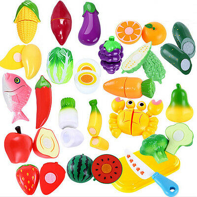Children Pretend Role Play Kitchen Fruit Vegetable Food Toy Cutting Set Kid Gift
