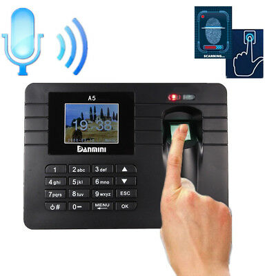 Time Attendance Clock Recorder Clocking Machine Check Fingerprint USB + Password