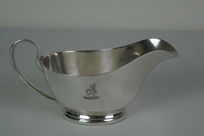 (ref165BCi)  Irish transport Authority Large Crested Silver Plated Gravy Boat