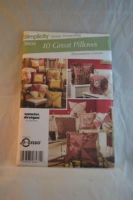 SIMPLICITY 5605 Quilted Pillow Pattern Uncut As New Condition FREEPOST IN AUST