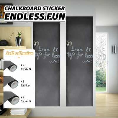 3 Sizes Black Plain Wall Sticker Blackboard 2 Rollswith Chalk Decor Mural Decals