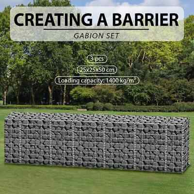 4 Sizes 3pcs Gabion Retaining Wall Mesh Wire Galvanized Steel Stone Basket Block