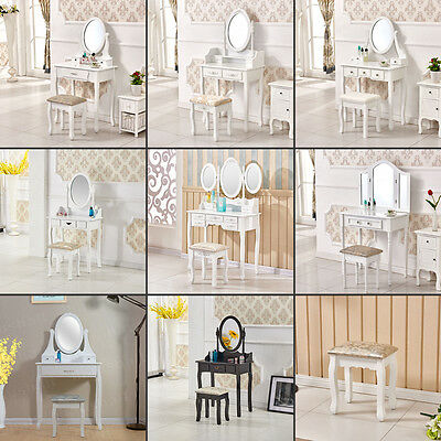 Wood Dressing Table Bedroom Makeup Desk with Mirror Stool Drawers Furniture