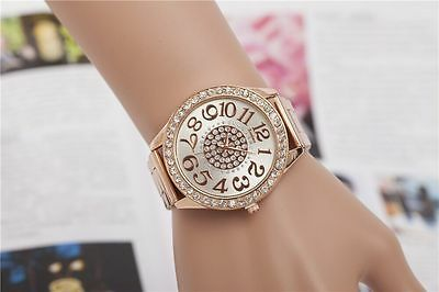Women's Bracelet Stainless Steel Crystal Dial Analog Quartz Wrist Watch UK