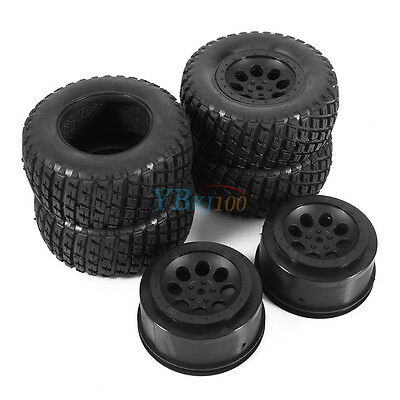 4pcs RC 1:10 Short Course Tires Set 12mm Wheel For Traxxas Slash Rally Truck Car
