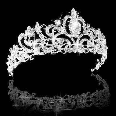 Wedding Bridal Princess Hair Tiara Crown Crystal Austrian Veil Headband Prom LU