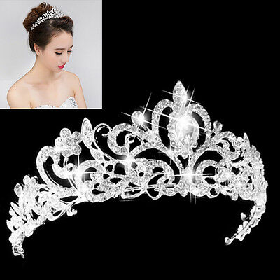 Wedding Bridal Princess Hair Tiara Crown Crystal Austrian Veil Headband Prom MO