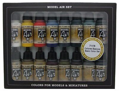 Vallejo Model Air Basic Colors Acrylic Paint Set for Air Brush - Assorted Colour