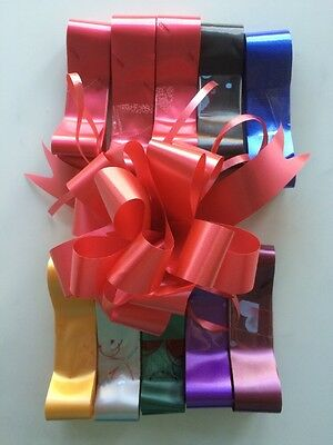 10x Florist Pull Bows 30mm - Mixed Colours Male Female Birthday Valentines