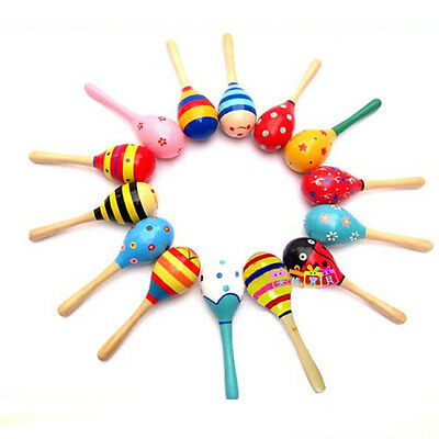 2pcs Kids Baby Children Wooden Wood Rattles Shaker Percussion Musical Toy Hot