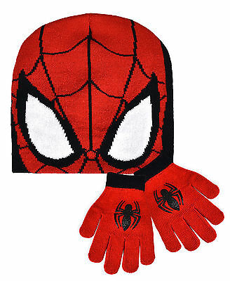 Boys Official Spiderman Hat And Gloves Set New Kids Marvel Winter Set One Size