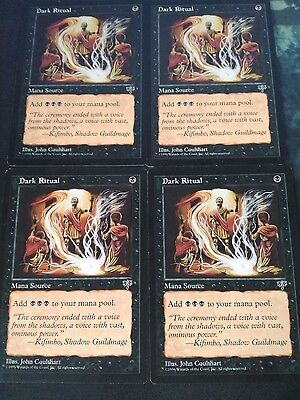 mtg Magic 4x Dark Ritual ( Ritual siniestro ) Mirage  English LIGHT Played++