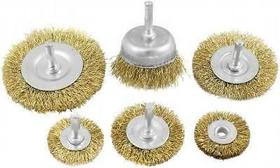 Rotary Wire Wheel & Cup Brush 6 Piece Set 6Mm Shank Use With Power Drill Kb56