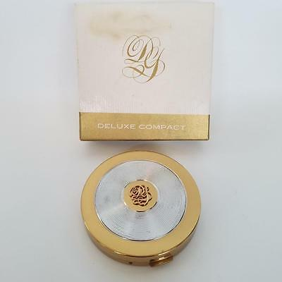 Vintage Dorothy Gray Ltd New York Compact w/ Box Cosmetic Powder Gold & Silver