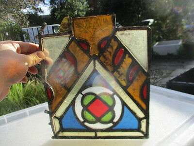 Victorian Stained Glass Window Section Salvaged 1800's Architectural Antique Old