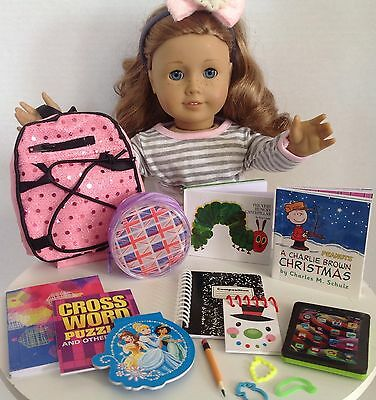 "Sequin Backpack School Supplies SET for American Girl Doll 18"" Accessories"