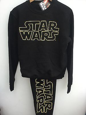 Mens Offical Disney Star Wars Black Leisurewear Tracksuit Pyjamas Xs-Xxl Rrp£30