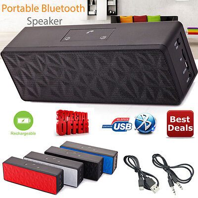 New Black Wireless Portable Bluetooth Speaker Stereo Powerful Support TF AUX USB