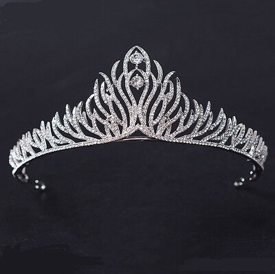 5cm High Lovely Full Crystal Leaf Wedding Bridal Party Pageant Prom Tiara Crown