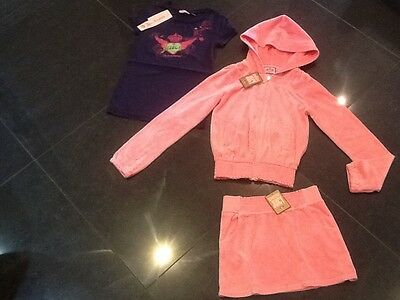 NWT Juicy Couture New & Gen. Girls Age 8 Pink Velour Tracksuit/T-Shirt & Logo